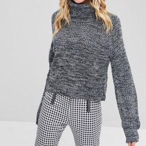 Záful Heathered Gray Knit Turtle Neck Sweater